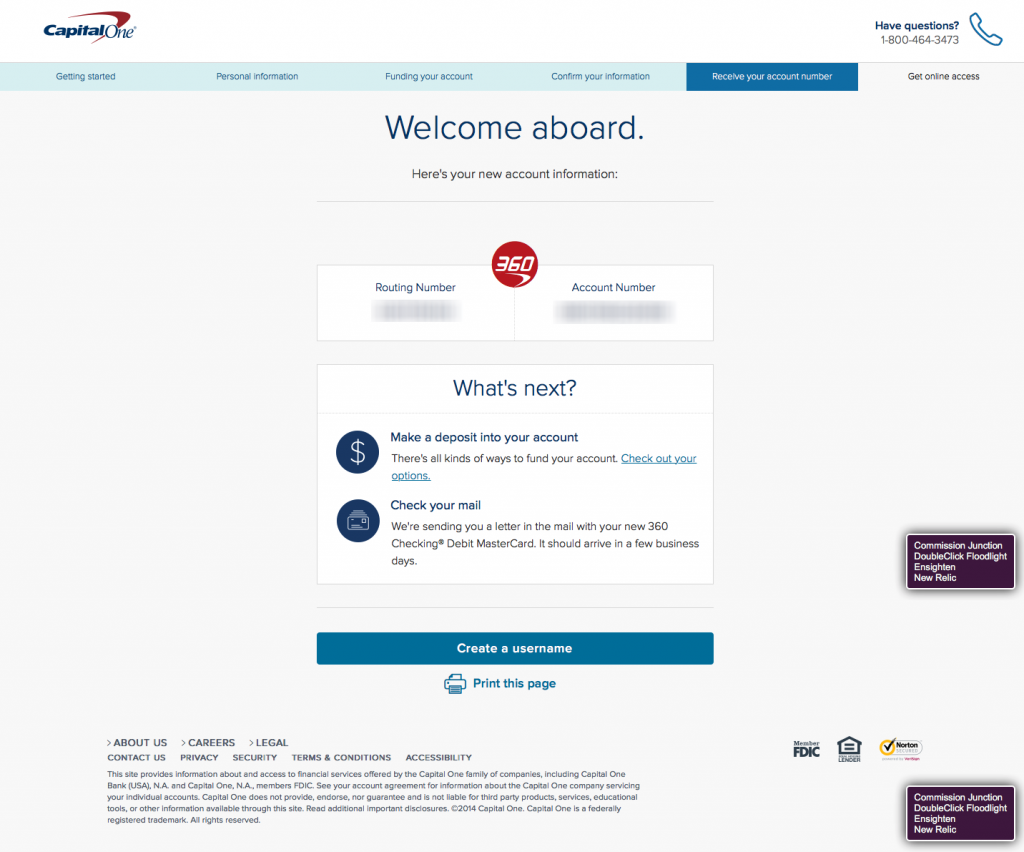 Account Application and First Login with Capital One 360 (US